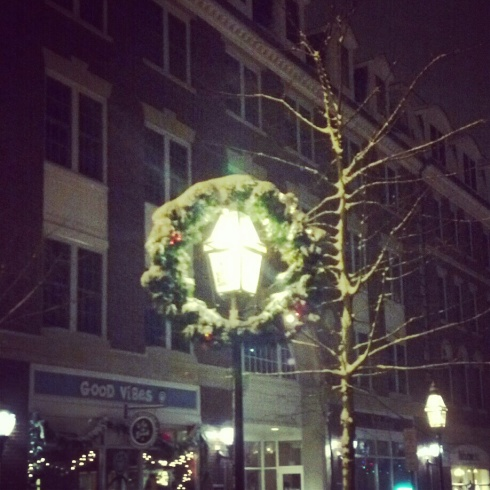 pretty snowy christmas decorations downtown