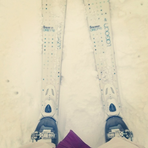 skiing on my new skis!